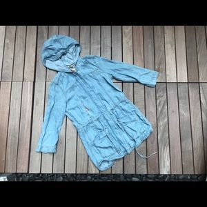 DITTOS Long Denim ZIP Up Hooded Drawstring Jacket